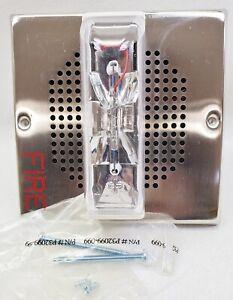 New Cooper Wheelock ET70-24MCW-FN Nickel Plated Fire Alarm Wall Speaker Strobe