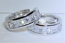 925 STERLING SILVER CREOLE SIMULATED PRINCESS CUT  DIAMOND HOOP  EARRINGS
