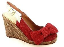 PACO GIL BURGUNDY TEXTILE ESPADRILLE WEDGE HEELS CASUAL SANDALS UK 3 - EUR 36