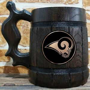 Los Angeles Rams Wooden Beer Stein, American Football, Custom Beer Gift for Men