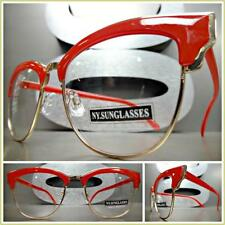 CLASSIC VINTAGE 60's RETRO CAT EYE Style Clear Lens EYE GLASSES Red & Gold Frame