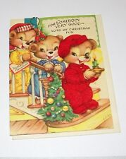 Vintage Die-Cut Christmas Greeting Card Teddy Bears Red Flocked Outfit Unused