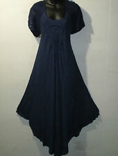 Dress Fit 1X 2X 3X 4X Plus Sundress Blue Lace Sleeves A Shaped Chest Ties G602