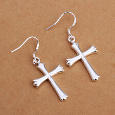 Pretty New Silver Plated Smooth & Shiny Lovely Cross Hook Dangle Drop Earrings