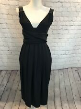 Prada Black Wrap tie Cocktail Dress V Neck & back raw edge Sleeveless Size 40