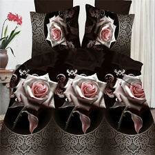 Black rose 3D bedding sets 4Pcs of Queen size duvet cover bed sheet pillowcase