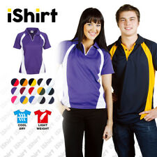 LADIES POLO SHIRT 100% POLYESTER COOL DRY SIDE PANEL BREATHABLE SPORTY POLO