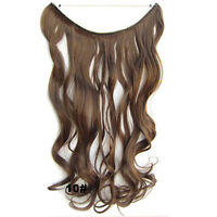 """22"""" Long Wavy Curly Synthetic Secret Miracle Fish Wire No Clip Hair Extensions"""