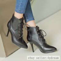 Womens Pointed Toe Lace Up Stilettos High Heels Ankle Boots Pumps Shoes AU SIZE