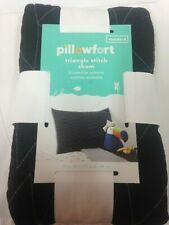 1 Pillowfort Triangle Stitch Quilted Black Standard Pillow Sham Nwt
