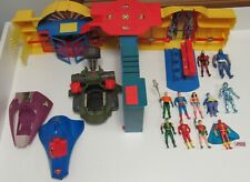 Lot of Vintage DC Super Powers Figures, Vehicles, and Complete Hall of Justice