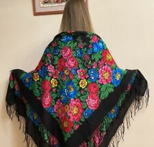 Vintage woolen Ukrainian shawl decorated with ornaments and flowers