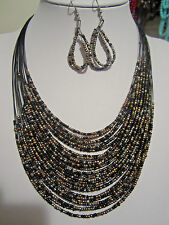 Multi Layers Two Tone And Black Glass Seed Bead Necklace Earring Set