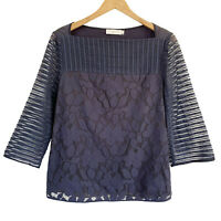 Tory Burch Womens Lindsey Floral Lace Stripe Sleeve Tulle Top Navy MEDIUM