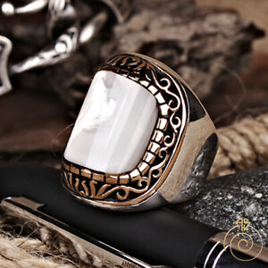 Unique Men Pearl Occult Statement Ring Silver White Gemstone Wedding Wide Band
