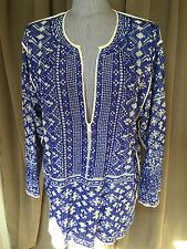 Isabel Marant Etoile Paris France blue off white print kurti tunic top L