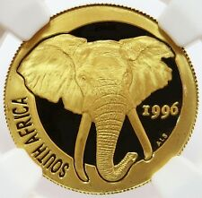 1996 GOLD SOUTH AFRICA 1/4 OZ NATURA ELEPHANT COIN NGC PROOF 69 ULTRA CAMEO
