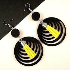 Black Lightweight Wood Fashion Earrings with Faux Suede Yellow Tassels #1056