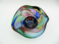 "5.5"" Hand-Blown Art Glass Bowl, Multicolored Floppy Fluted Design, Signed"