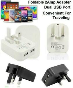 Dual USB Port Fastest 2 AMP Folding Mains Wall Plug With Free Charging Cable UK