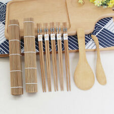 DIY Bamboo Sushi Making Kit 2 Rolling Mats 5 Pairs Chopsticks Rice Spreader Set