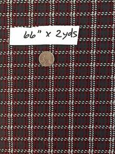 "VTG Fabric 1960s Polyester Double Knit Check Plaid 66""x2yds Disco Slacks"