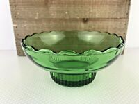 Vintage E O BRODY Co Emerald Green Glass Candy Dish Bowl Scallop M2000 USA OHIO
