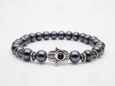 Mens Black Hematite Hamsa Bracelet Stone Beads Hands Of Fatima Gemstone Gift UK