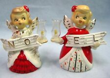 Vintage 1950's Lego Japan Christmas NOEL Angels Porcelain S & P Shakers