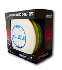Discraft Disc Golf 4 Discs Frisbee Drivers Mid Range Putter w Storage Carry Bag