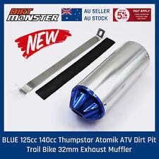 BLUE 125cc 140cc Thumpstar Atomik ATV Dirt Pit Trail Bike 32mm Exhaust Muffler