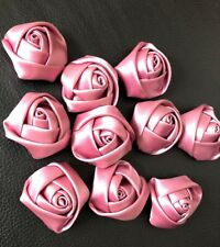 10 Dusky Pink Handmade Satin Ribbon Roses 35mm Approx Craft Corsage Wedding