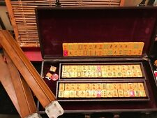 Vtg Chinese Bakelite Mah jong Game 96 Tiles, Five Wood Racks in Case Mah Jongg