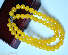 PRETTY 8MM NATURAL YELLOW TOPAZ GEMSTONE NECKLACE CHAIN 20'' AAA