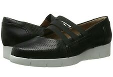 Clarks Daelyn City Perforated Leather Platform Flat 11 Wide (D) New without box