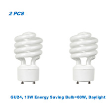 2 Bulbs, Twister GU24,13W Energy Saving Bulb= 60W, Day Light 5000K, UL Listed