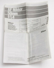 Nikon AF Nikkor 50mm 1:1.4 Instruction Manual Sheet - USED B26