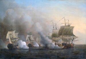 Marine Art Maritime Action off the Cape of Good Hope Scott Samuel 1757