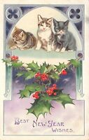 Cats~Three Kittens~Black White Tiger~Holly Berry~Purple Silver Embossed~1908 PC