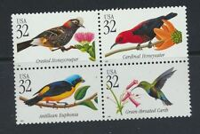 Tropical Birds Mint NH Se-Tenant USA Block of Four #3222-3225 Full Color
