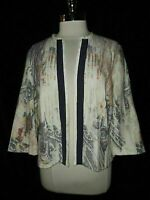 CHICO'S Size 2 12 14 L Jacket Blue Beige Ivory Floral Paisley 3/4 Sleeve