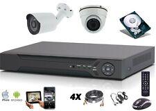 Vidéosurveillance AHD 1080P + enregistreur hybrid 4 voies + disque + 2 caméras