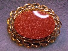 Vintage Goldstone Sand Stone Gold Plated Brooch Pin Oval Channel Set