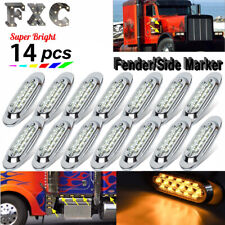 """14pcs 6-1/2"""" Clear/Amber Led Side Marker Clearance Lamp 16 Led for Freightliner"""