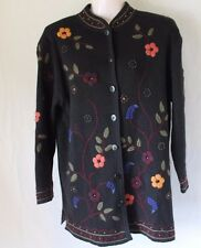 Coldwater Creek PS Black Button Front Cardigan Embroidered Floral Embellishments