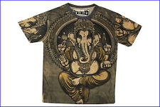 Men T Shirt Ganesh Elephant GOD Hindu Weed Tattoo Nature Hobo Boho Sz L RARE