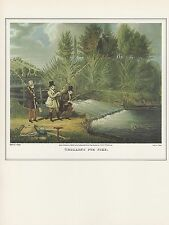 "1974 Vintage FISHING ""TROLLING FOR PIKE"" TOTTENHAM COLOR Art Print Lithograph"