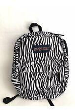 JANSPORT Super Break Black White Zebra Print Backpack Soft Adjustable Strap New