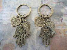 One Pair Lot of 2 Bronze Hamsa Hand Tree of Life & Feather Angel Wings Key Rings