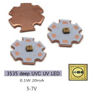 1W 3838 270NM Deep UV LED Ultraviolet Violet light LED Diode with Copper PCB